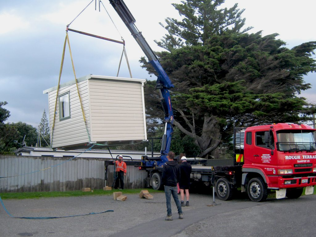 Cabin lifted by crane